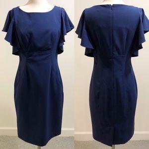 Calvin Klein Blue Sheath dress with Flutter Sleeve